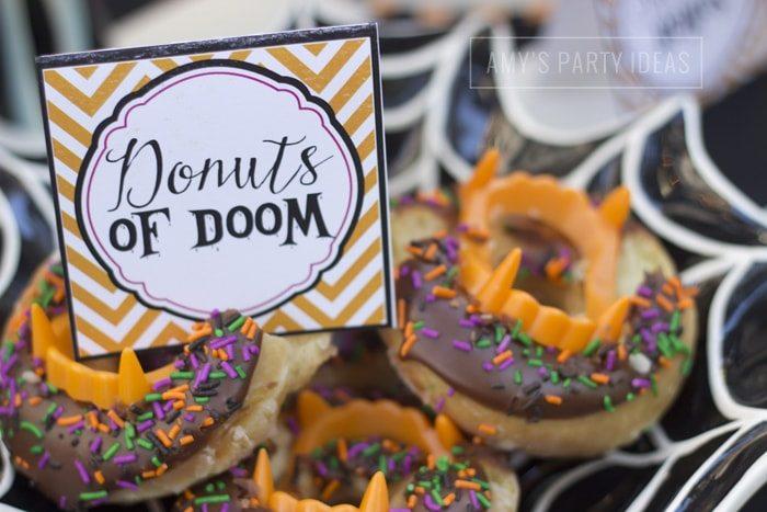 Halloween Pumpkin Carving Ideas from AmysPartyIdeas.com | Halloween Party Food Ideas| Krispy Kreme Donuts of Doom