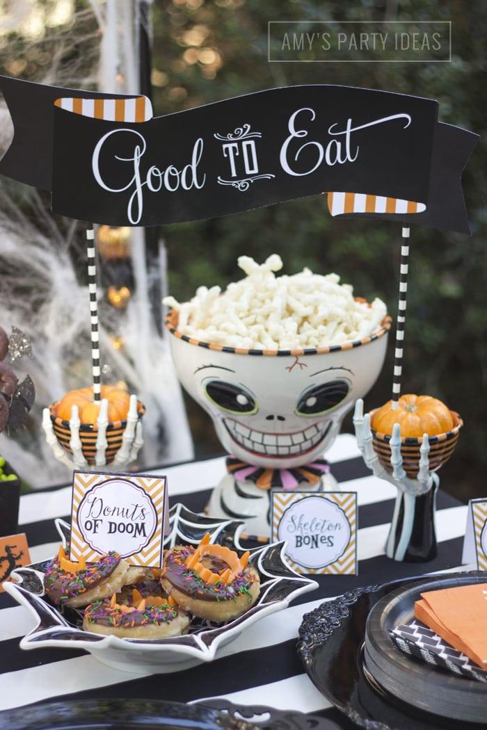 Halloween Pumpkin Carving Ideas from AmysPartyIdeas.com | Halloween Skeleton Serving Bowl from Glitterville.com