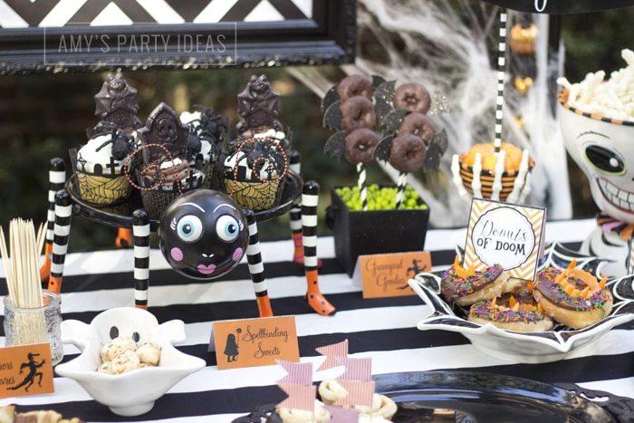 Halloween Pumpkin Carving Ideas from AmysPartyIdeas.com | Halloween Spider Cake Plate from Glitterville.com