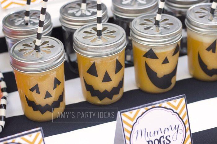 Halloween Pumpkin Carving Ideas from AmysPartyIdeas.com | Mason Drinking Jars from KateAspen.com
