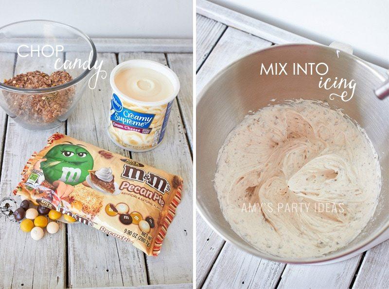 M&M's® Pecan Pie Cake Icing   Mars Harvest Party     #BakeInTheFun #shop #ad #cbias