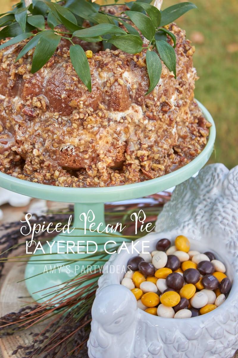 Spice Pecan Pie Layered Cake Recipe  Mars Harvest Party     #BakeInTheFun #shop #ad #cbias