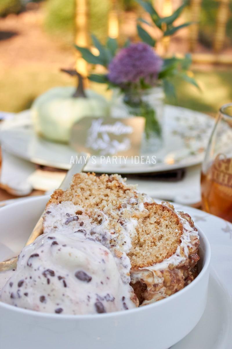 DIY Cake Ribbon Cake Topper | Mars Harvest Party | Pecan Pie Layered Spice Cake | #BakeInTheFun #shop #ad #cbias