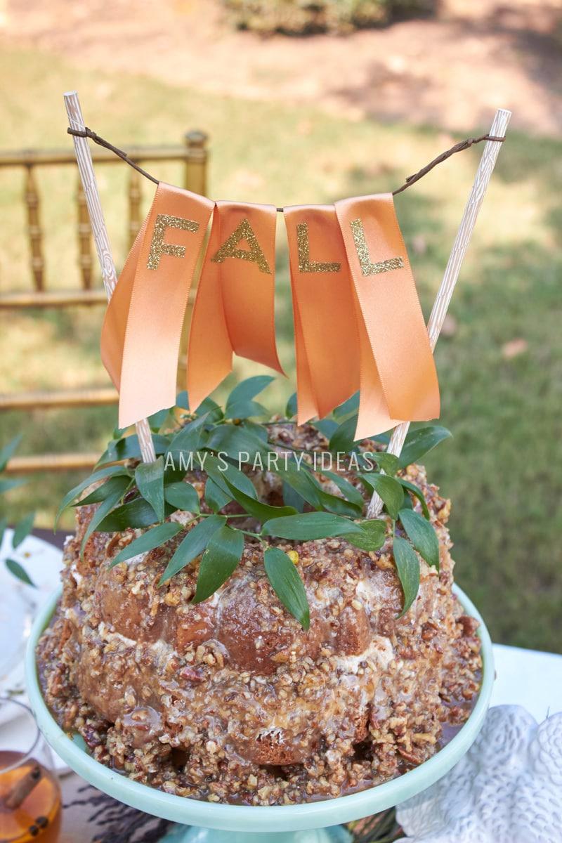 DIY Cake Ribbon Cake Topper   Mars Harvest Party   Pecan Pie Layered Spice Cake   #BakeInTheFun #shop #ad #cbias
