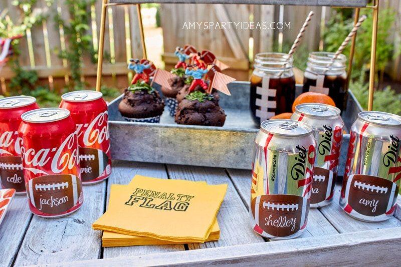DIY Tutorial football mason jars with free football printables   Coca-Cola-Fall-Football-Sams-Club-Tailgate #shop #ShareYourSpirit #CollectiveBias #ad