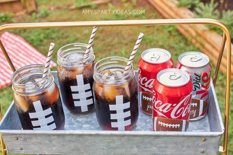 DIY tutorial football mason jars   Coca-Cola-Fall-Football-Sams-Club-Tailgate #shop #ShareYourSpirit #CollectiveBias #ad
