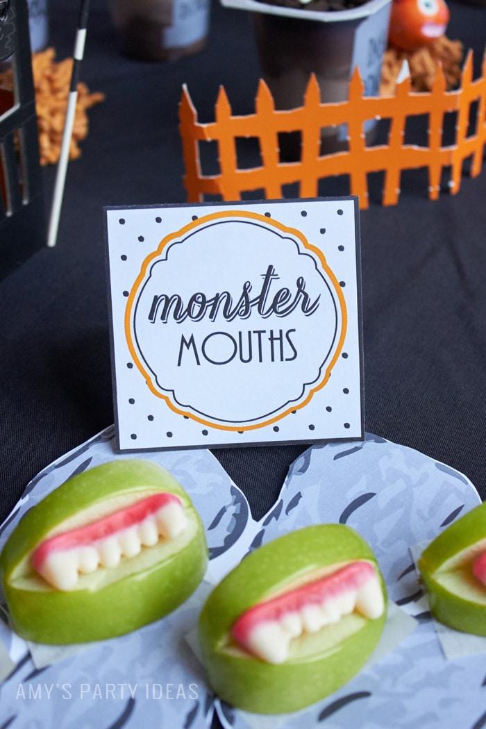 Halloween Monster Mouths | Allergy Free |DIY Bats in the Graveyard Halloween Desserts & FREE PRINTABLE gravestones | #SnackPackMixIns #shop #ad #cbias