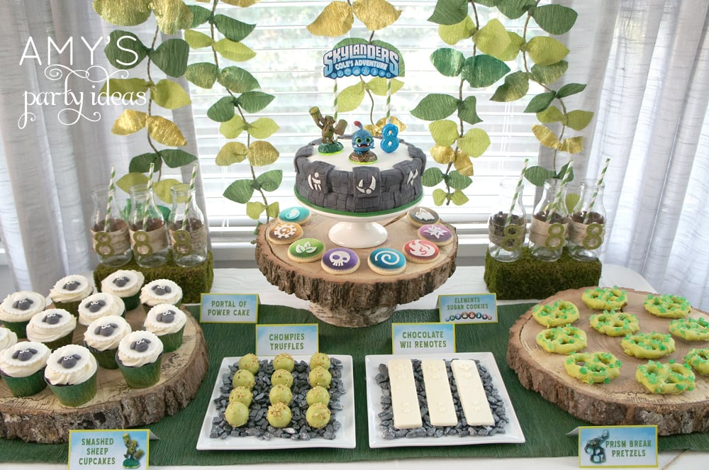 skylanders birthday party dessert table candy bar ideas, Skylanders Giants Birthday Party Ideas & Games | @AmysPartyIdeas #SkylandersGiants #party #DIY #Skylander #Birthday #dessert table #supplies