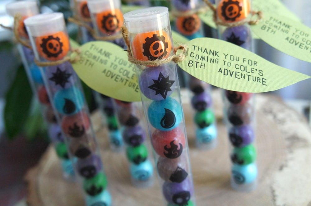 skylanders-birthday-party-favors as seen on AmysPartyIdeas.com, Skylanders Giants Birthday Party Ideas & Games | @AmysPartyIdeas #SkylandersGiants #party #DIY #Skylander #Birthday #dessert table #supplies