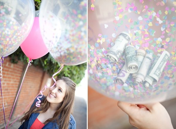 money inside balloons party gift ideas