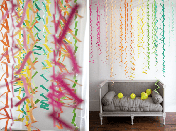 DIY zig zag paper streamers party decorations