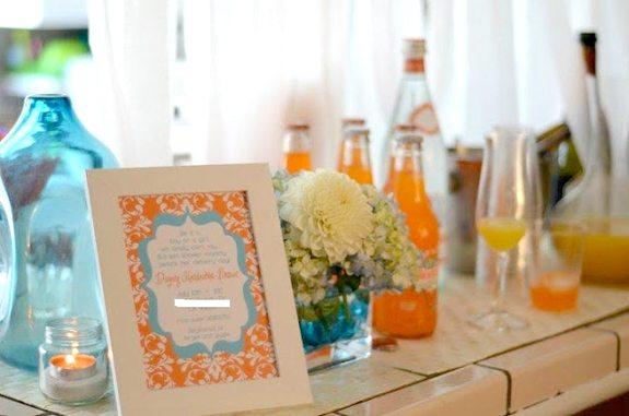 Aqua & Orange Themed Baby Shower Party Ideas