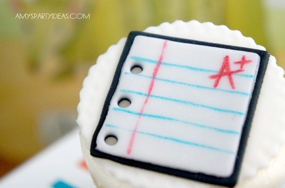 Back to School Party Ideas featuring cupcake toppers from #LIVCreativity as seen on AmysPartyIdeas.com