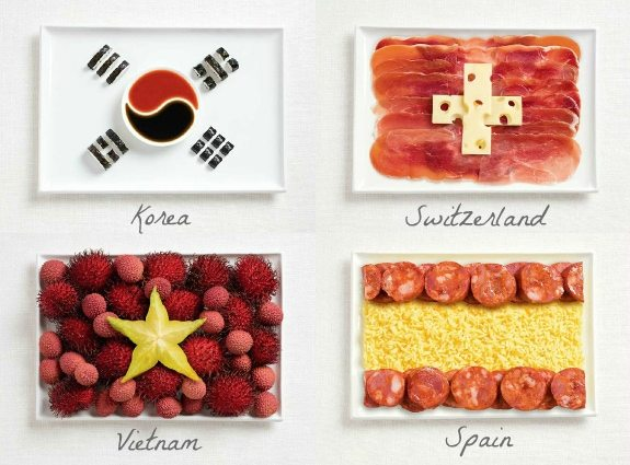 olympic party ideas Olympic Flags made from food from Syndey International Food Festival featured on AmysPartyIdeas.com