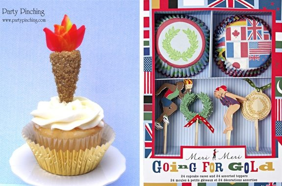 olympic party ideas torch cupcakes & cupcake kit from PartyPinching.com seen on AmysPartyIdeas.com