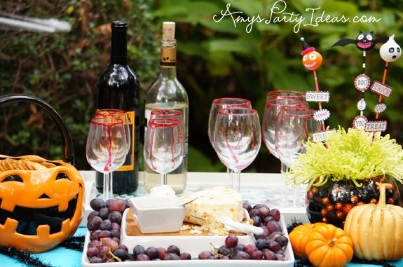 Halloween Party Ideas wine & cheese plate