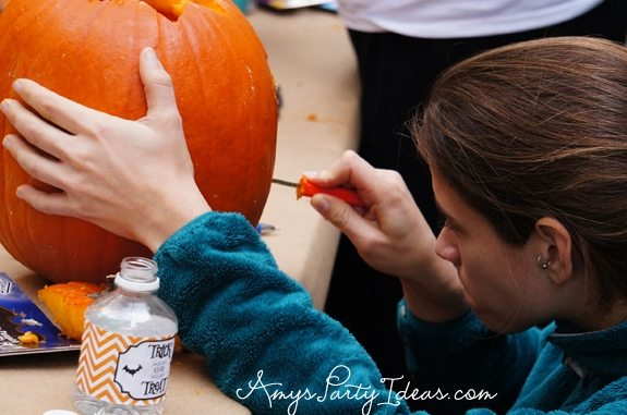 Halloween Pumpkin Carving Party Ideas from AmysPartyIdeas.com