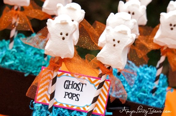 Halloween Party Ideas Ghost Peeps Pops