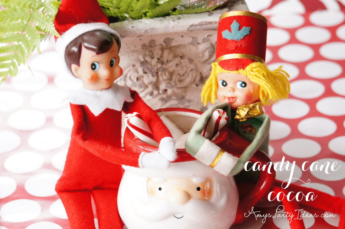 {Candy Cane Cocoa} Elf on the Shelf Ideas: Day 12 as seen on AmysPartyIdeas.com