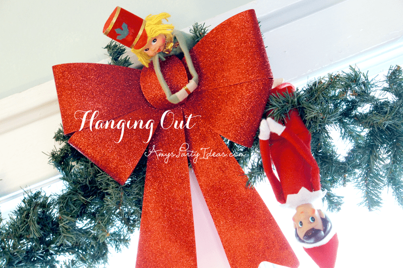 {Hanging Out} Elf on the Shelf Ideas: Day 9 as seen on AmysPartyIdeas.com