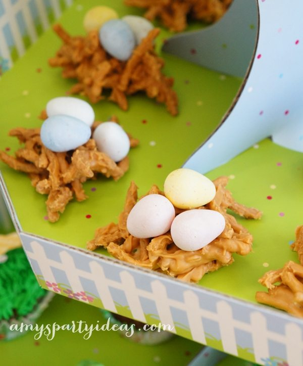 Birds Nests ~ Easter or Bunny Birthday Party Dessert Table Ideas from AmysPartyIdeas.com