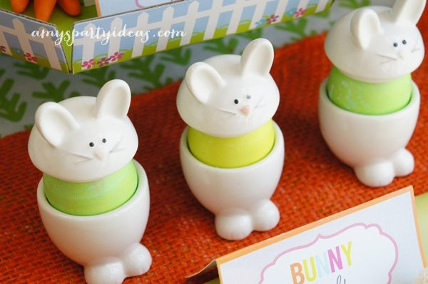 Egg Cups from @Swoozies ~ Easter or Bunny Birthday Party Dessert Table Ideas from AmysPartyIdeas.com
