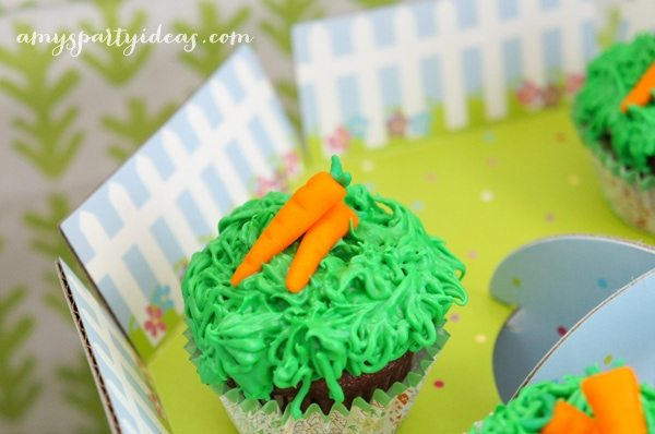 Carrot Fondant Toppers from @LIVCreativity ~ Easter or Bunny Birthday Party Dessert Table Ideas from AmysPartyIdeas.com