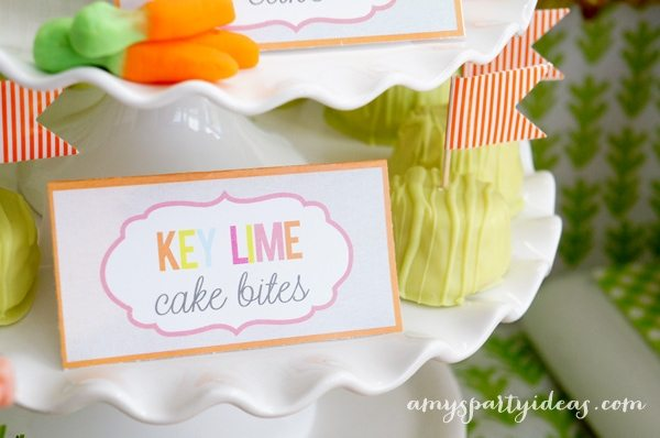 Key Lime Cake Bites ~ Easter or Bunny Birthday Party Dessert Table Ideas from AmysPartyIdeas.com