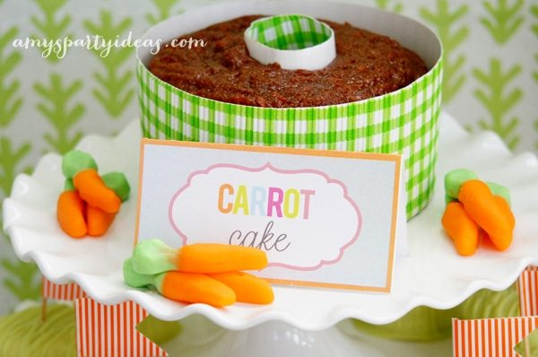 Carrot Cake ~ Easter or Bunny Birthday Party Dessert Table Ideas from AmysPartyIdeas.com