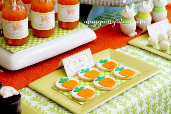 Carrot Fondant Cupcake Toppers from @LIVCreativity ~ Easter or Bunny Birthday Party Dessert Table Ideas from AmysPartyIdeas.com