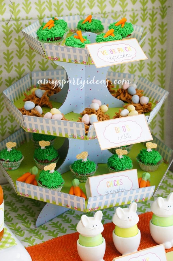 Cupcake Stand ~ Easter or Bunny Birthday Party Dessert Table Ideas from AmysPartyIdeas.com
