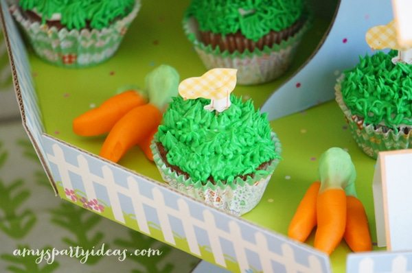 Chick Cupcakes ~ Easter or Bunny Birthday Party Dessert Table Ideas from AmysPartyIdeas.com