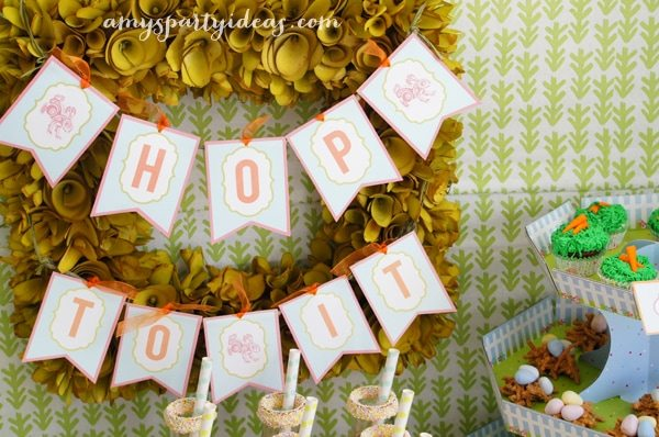 Printable Banner from LuluCole.com ~ Easter or Bunny Birthday Party Dessert Table Ideas from AmysPartyIdeas.com