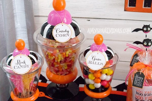 Candy-Corn-Halloween-Party_Apothecary-Candy-Jars-(3) @AmysPartyIdeas #halloween #party #ideas #candycorn