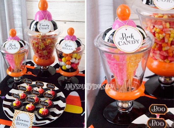 Candy-Corn-Halloween-Party_Apothecary-Candy-Jars @AmysPartyIdeas #halloween #party #ideas #candycorn
