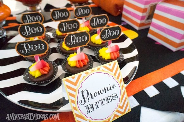Candy Corn Halloween Party_Brownie Bites 2 @AmysPartyIdeas #halloween #party #ideas #candycorn