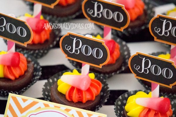 Candy Corn Halloween Party_Brownie Bites 3 @AmysPartyIdeas #halloween #party #ideas #candycorn
