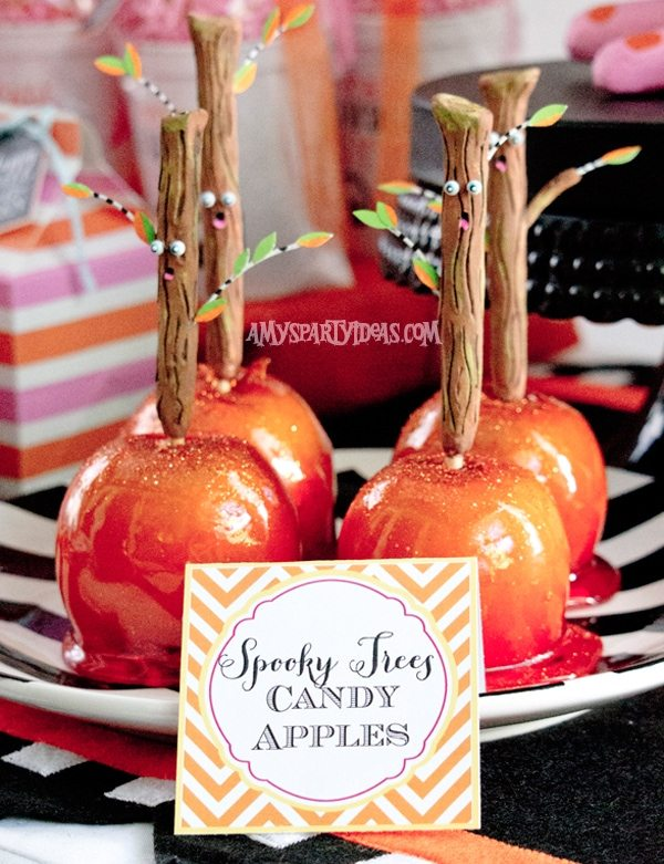 Candy Corn Halloween Party_Candy Apples (3) @AmysPartyIdeas #halloween #party #ideas #candycorn