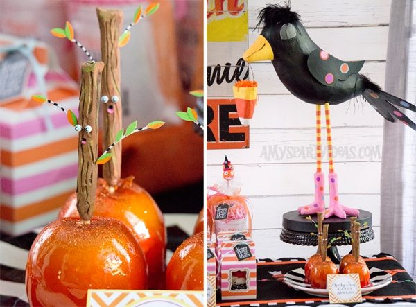 Candy-Corn-Halloween-Party_Crowdilla_Spooky-Trees @AmysPartyIdeas #halloween #party #ideas #candycorn