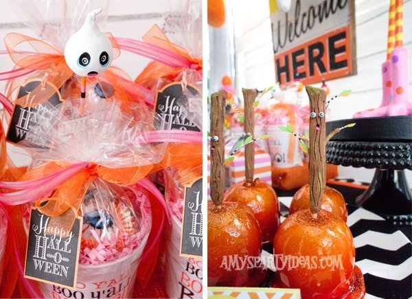 Candy-Corn-Halloween-Party_Favor-Cups_Spooky-Candy-Apples @AmysPartyIdeas #halloween #party #ideas #candycorn