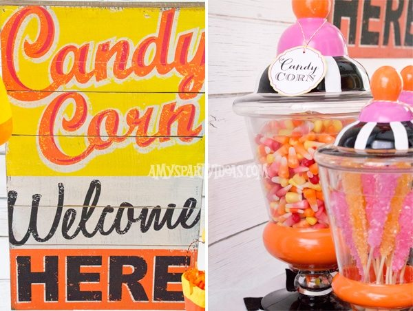 Candy-Corn-Halloween-Party_Wooden-Sign-_Candy-Jar @AmysPartyIdeas #halloween #party #ideas #candycorn