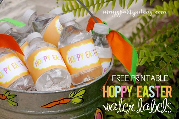 FREE PRINTABLE hoppy easter water labels from AmysPartyIdeas.com