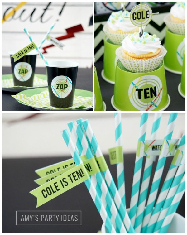 Laser Tag Party Ideas & Printables - INSTANT DOWNLOADS from LuluCole.com and AmysPartyIdeas.com #lasertagpartyideas