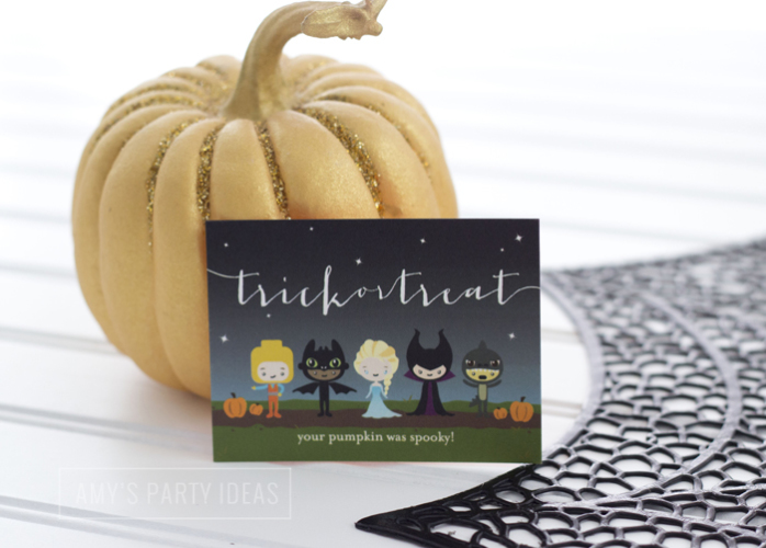 Halloween Pumpkin Carving Ideas from AmysPartyIdeas.com | Halloween Party Thank You Notes from TinyPrints.com