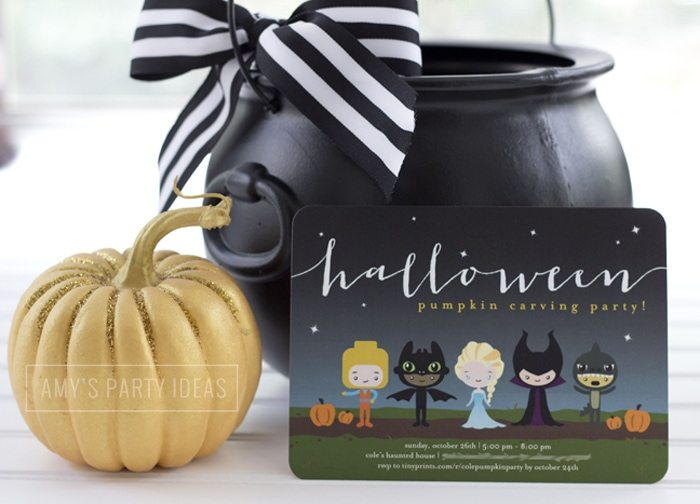 Halloween Pumpkin Carving Ideas from AmysPartyIdeas.com | Halloween Invitations from TinyPrints.com