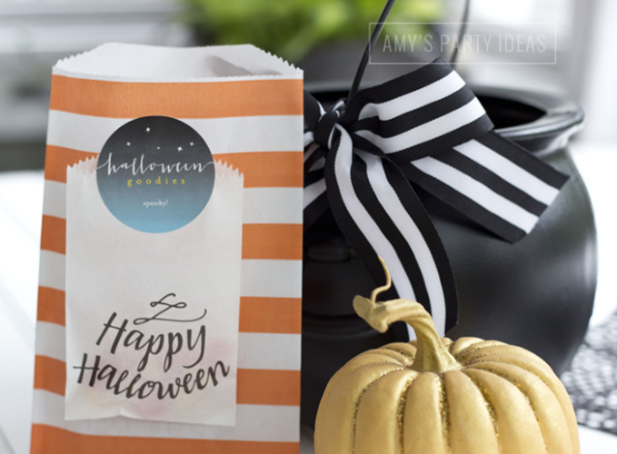 Halloween Pumpkin Carving Ideas from AmysPartyIdeas.com | Halloween Party Favor Tags from TinyPrints.com