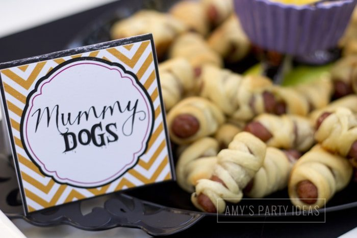Halloween Pumpkin Carving Ideas from AmysPartyIdeas.com | Halloween Party Food Ideas | Mummy Dogs