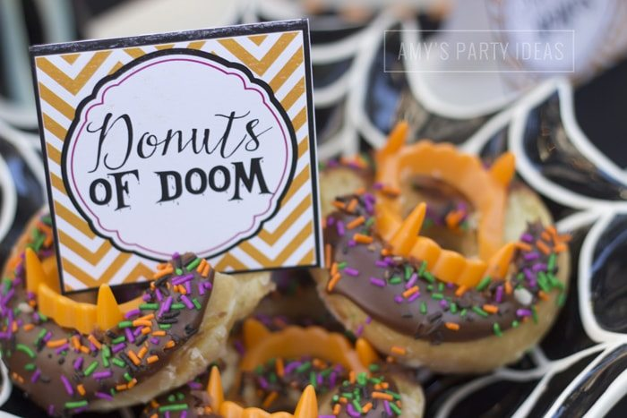 Halloween Pumpkin Carving Ideas from AmysPartyIdeas.com | Halloween Party Food Ideas| Krispy Kreme Donuts of Doom