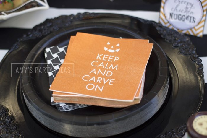Halloween Pumpkin Carving Ideas from AmysPartyIdeas.com | Keep Calm Napkins