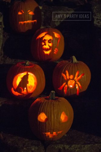 Halloween Pumpkin Carving Ideas from AmysPartyIdeas.com